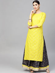 Bright Yellow printed 3/4th sleeve Kurta set with Navy Blue skirt