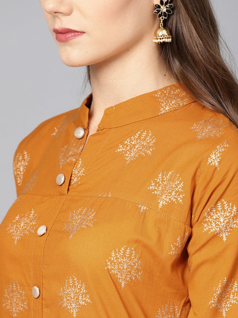 Mustard printed 3/4th sleeve cotton Kurta Set with Straight Palazzo