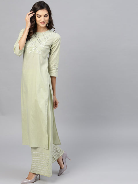 Pastel Green 3/4th sleeve cotton kurta with gotta patti work at yoke and ankle length palazzo