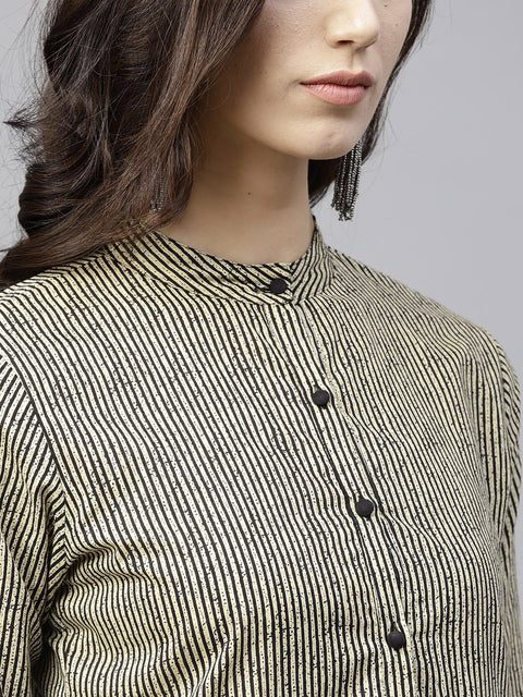 Black striped 3/4th sleeve layered top
