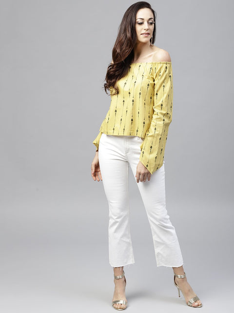 Yellow off shoulder full sleeve cotton top