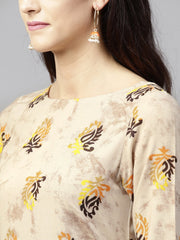 Beige printed 3/4th sleeve cotton high-low kurta with ankle length skirt