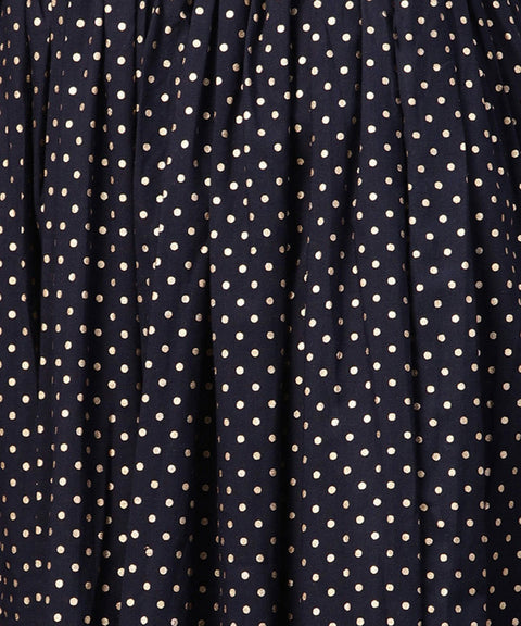 Navy blue 3/4th sleeve cotton kurta with black printed flared skirt