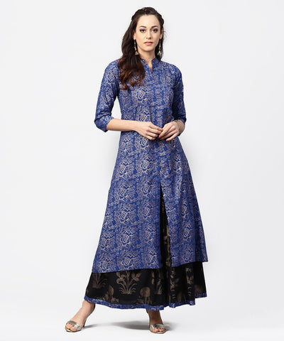 Blue printed 3/4th sleeve A-line kurta with black flared skirt