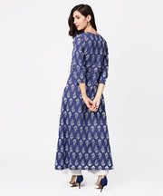 Blue printed 3/4th sleeve cotton maxi dress