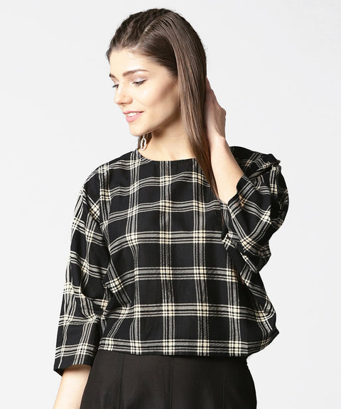Black check flared sleeve cotton top