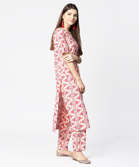 Peach printed half sleeve cotton kurta with ankle length printed pant