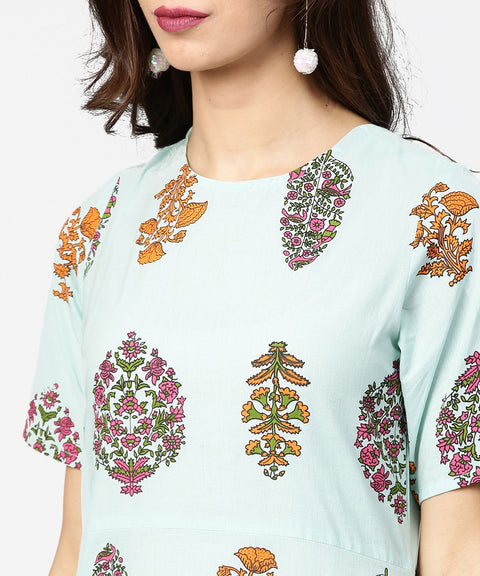Light blue printed short sleeve cotton straight kurta