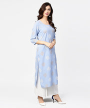 Grey printed  3/4th sleeve cotton straight kurta