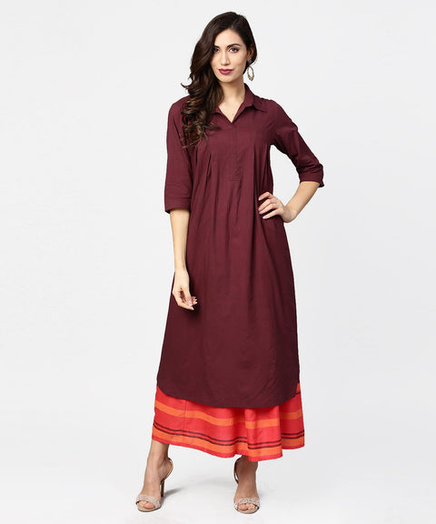 Coffee half sleeve cotton A-line kurta