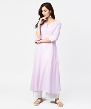 Baby pink 3/4th sleeve cotton straight kurta