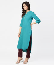 Teal blue 3/4th sleeve cotton kurta