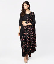 Black printed palazzo saree with 3/4th sleeve round neck blouse