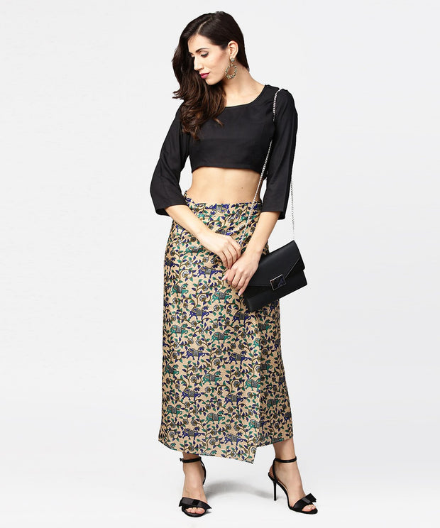 Beige printed midi cotton straight skirt
