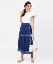 Blue midi length cotton flared skirt