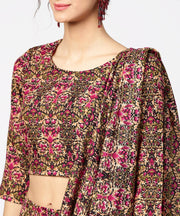 Green & Pink printed palazzo saree & 3/4th sleeve round neck blouse