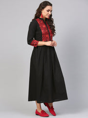 Solid Black Maxi Dress with printed Front Yoke & Madarin Collar