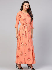 Peach Geometric Maxi dress with 3/4 sleeves & Round Neck
