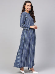 Navy Blue Printed Maxi Dress with Round Neck & Full sleeves