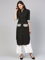 Solid black Kurta with printed Detailed sleeves & Shirt collars