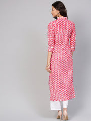 Leaf Printed pink 3/4th sleeve Kurta set with White Palazo