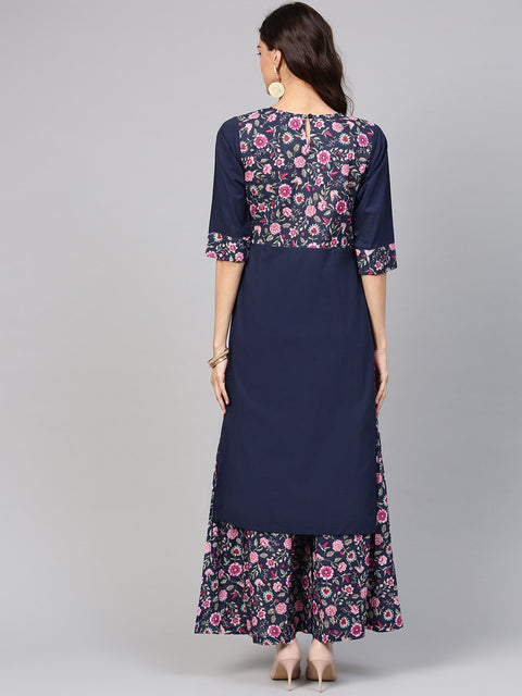 Navy Blue Floral Printed Kurta set with ankle length printed Sharara