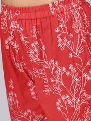 Solid Red Kurta With Detailed Printed sleeves & Pants