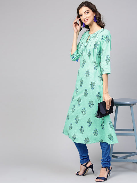 Sea Green Printed Kurta Set  with Solid Chudidar
