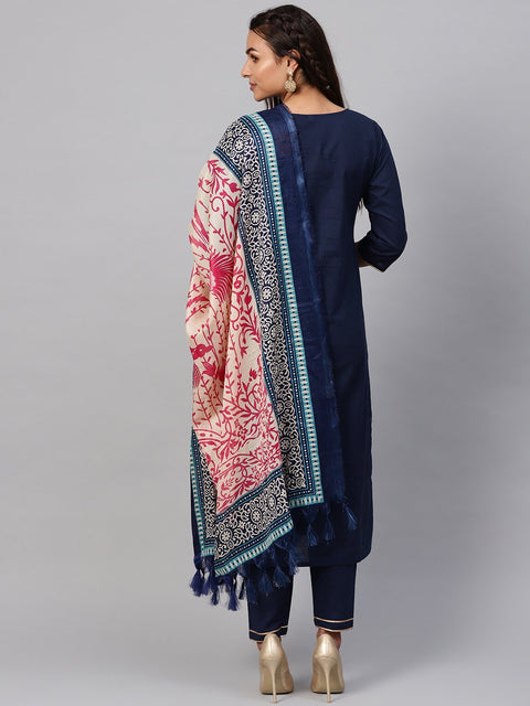 Solid Navy Blue Kurta Set With Pants & printed Dupatta