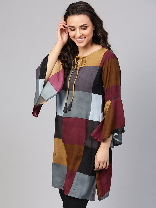 Multi-Colored Checked Tunic Key hole neck & Bell Sleeves