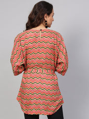 Multi Colored Zig Zac printed Kimino style Tunic