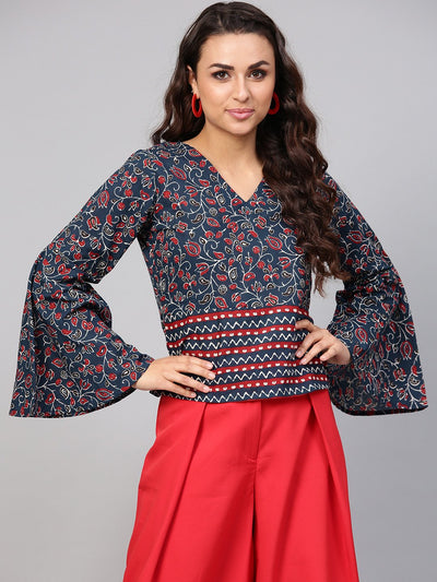 Indigo Blue Geometric Printed top with V neck & Flared sleeves