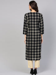 Black & Cream Checked Kurta set with Solid Cream pants