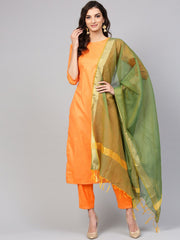 Light  Orange Kurta Set with Pants & green contrasting Dupatta