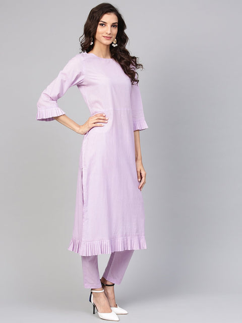 Lavender cotton Kurta set with detailed 3/4 sleeves