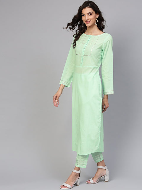 Cotton Round neck Pastel Mint green straight kurta with front placket & 3/4 sleeves