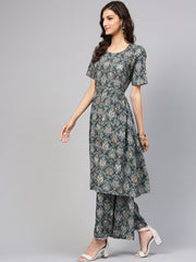 Dark green pleated anarkali Kurta with ankle length palazzo