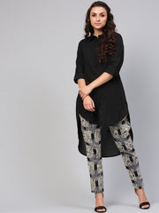 Solid Black High-Low Kurta set with Printed Pants