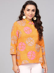 Geometric printed Yellow cotton tunic with side placket & 3/4 sleeves