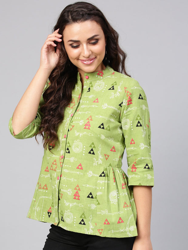 Light Green Tribal Print tunic with Mandarin collar & 3/4 sleeves