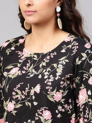 Solid black based multi floral prints with a round neck and flared sleeves