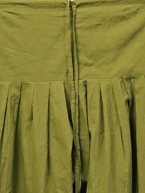 Solid olive green pleated patiala salwar with drawstring detailing