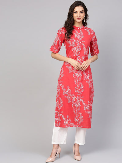 Red Printed half sleeve Kurta Set with White Solid Pants