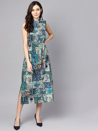 Multi Colored Ankle length dress with Madarin collar