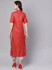 Red High-Low short sleeve Kurta set with solid grey Pants