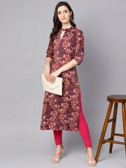 Purple & beige Floral printed Straight kurta with 3/4 sleeves