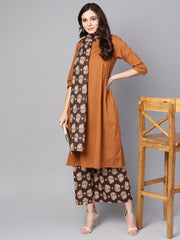 Solid Mustard Kurta set with Chocolate brown Printed Palazzo & Dupatta