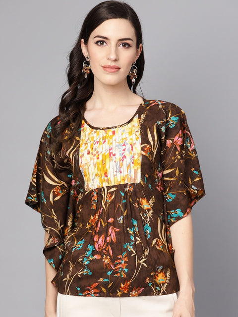 Chocolate Brown Multi colored  Kaftaan Top with Pleated Yoke