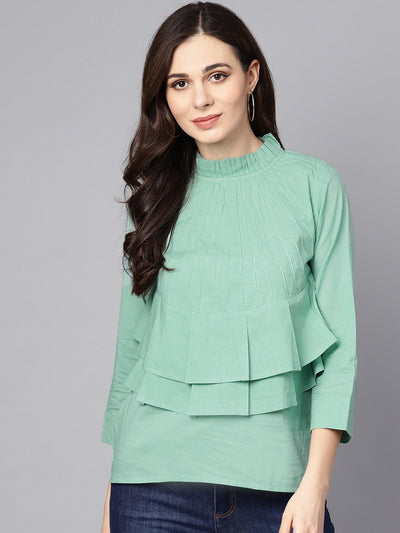 Pine Green top Detailed with Pleats & Ruffled neck