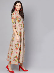 Beige Multi Colored Angrakha style Maxi Dress emblished with tassels